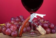 Corkscrew and grapes Stock Photos