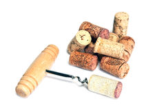 Corkscrew and many corks Stock Image