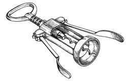 Corkscrew mechanical, for opening wine bottles, black and white vector illustration by hand royalty free illustration