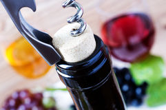 Corkscrew. Opening a bottle of wine stock photography