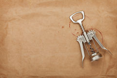 Corkscrew with red wine stains Royalty Free Stock Image
