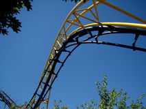 Corkscrew roller coaster. A close up of the Corkscrew roller coaster at Silverwood Theme Park in Athol, Idaho stock photo
