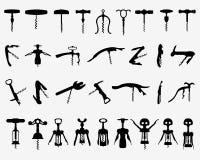 Corkscrew. Set of black silhouette of corkscrew Royalty Free Stock Images