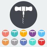 Corkscrew. Single flat icon on the circle. Vector illustration Royalty Free Stock Photo
