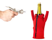 Corkscrew Target On The Wine Bottle Royalty Free Stock Images