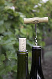 Corkscrew top of wine bottle royalty free stock images