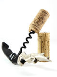 Corkscrew and two corks Royalty Free Stock Images