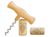 Corkscrew and two wine corks on white background Royalty Free Stock Photo