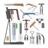 Corkscrew vector bottle-screw open wine drink and vintage penknife tailspin screwing tool illustration set of opener. Corkscrewed multitool equipment for stock illustration