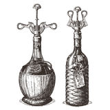 Corkscrew vector logo design template. wine bottle Stock Photos