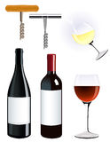 Corkscrew and vine bottle Stock Image