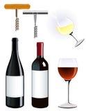 Corkscrew and vine bottle. Illustration Stock Image