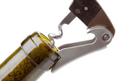 Corkscrew in a wine bottle Stock Photography