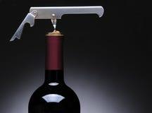 Corkscrew in Wine Bottle Stock Photography