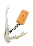 Corkscrew with wine cork Stock Photography