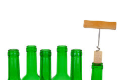 Corkscrew, wine cork and the bottle Royalty Free Stock Photo