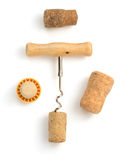 Corkscrew and wine cork on white Stock Photo