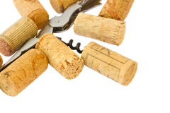 Corkscrew with wine corks Stock Image