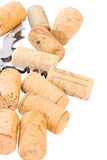 Corkscrew with wine corks Royalty Free Stock Photos