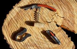 Corkscrew with wine corks Stock Photos