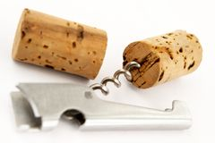 Corkscrew and wine fuses. On a white background Royalty Free Stock Photos