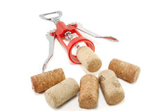 Corkscrew and wine stoppers Royalty Free Stock Photo