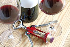Corkscrew with wineglass Stock Photography