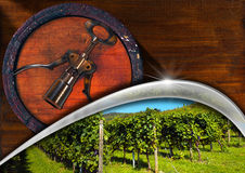 Corkscrew with Wooden Barrel and Vineyard Royalty Free Stock Image