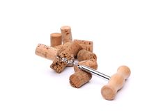 Corkscrews and corks. Stock Photo