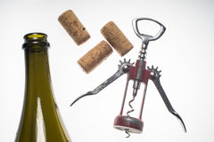 Corkscrews white background wine bottle Stock Images