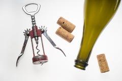 Corkscrews white background wine bottle Stock Image