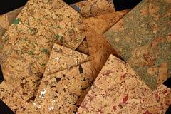 Corkwood tiles. Different color corkwood tiles on black background Royalty Free Stock Photo