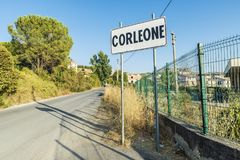 Corleone street sign in Sicily, Italy. Corleone street sign, a town known for associating with the mafia in Sicily, Italy Royalty Free Stock Photography