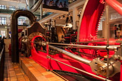 Corliss steam engine.Science museum, London, UK. A Corliss steam engine   fitted with rotary valves and with variable valve timing patented in 1849, invented by Royalty Free Stock Image