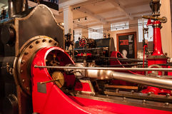 Corliss steam engine.Science museum, London, UK. A Corliss steam engine fitted with rotary valves and with variable valve timing patented in 1849, invented by stock photography