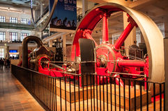 Corliss steam engine.Science museum, London, UK. A Corliss steam engine   fitted with rotary valves and with variable valve timing patented in 1849, invented by Royalty Free Stock Images