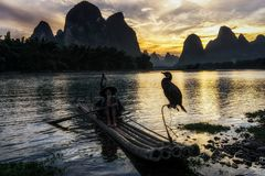 The cormant fisherman in li river. Li river cormant fisherman resting by the famous li river on the background. Taken near Xingping, which is nearby yangshuo in Royalty Free Stock Photos