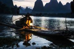 Cormant rybak w li rzece Zdjęcie Stock