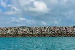Cormorant colony on stone water breaker on sunny day. Australia Stock Photo