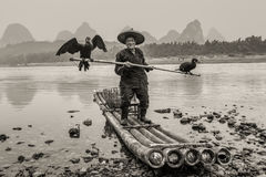 Cormorant fisherman. Yangshuo, China - October 20, 2013:  Cormorant fisherman with ancient bamboo boat on the Li River in Yangshuo, Guangxi, China. Black and Stock Photography