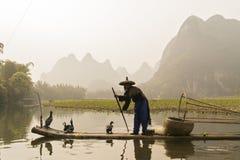 Cormorant, homme de poissons et vue de paysage de Li River avec le brouillard dans le sprin Photographie stock libre de droits