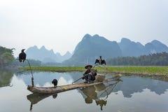Cormorán, hombre de los pescados y vista del paisaje de Li River con niebla en sprin Foto de archivo libre de regalías