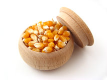 Corn. In wooden pot over white Royalty Free Stock Photography