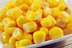 Corn. Yellow corn kernels stacked side by side Stock Image
