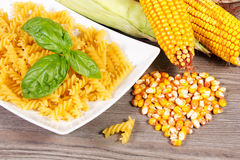 Corn. With pasta on the table Royalty Free Stock Photo