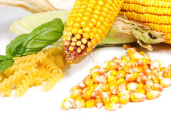 Corn. With pasta on a white background Stock Image