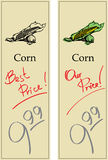 Corn. Two Price Tags with Vintage Effect Stock Photography