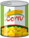 Corn in aluminum can. Illustration Royalty Free Stock Photo