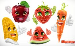 Corn, apple, strawberry, watermelon, carrot. 3d vector set icon. Corn, apple, strawberry, watermelon and carrot. Funny cartoon characters. Kids food, 3d vector Stock Photos