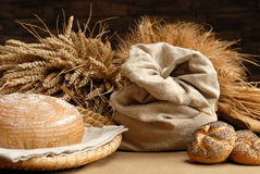 Corn background. Background with bag, corn and bread Royalty Free Stock Image
